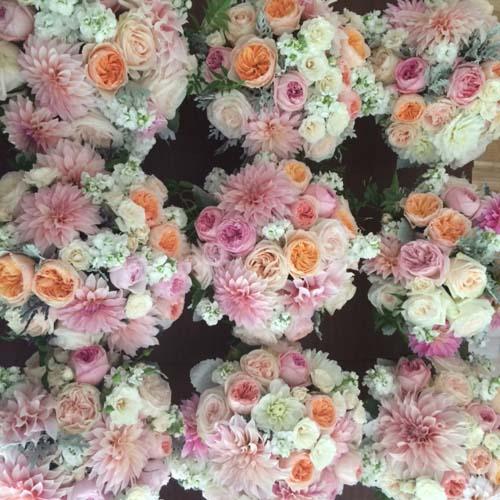 Bella Fiori, centerpieces of dahlias, garden roses, and stock