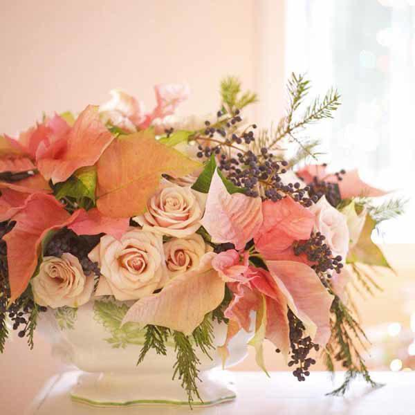 Bella Fiori - Poinsettia and rose flower arrangement