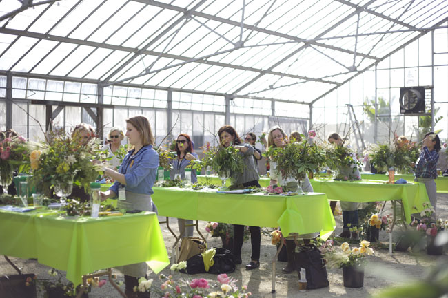 Florabundance Design Days 2016 - floral designers making large arrangements