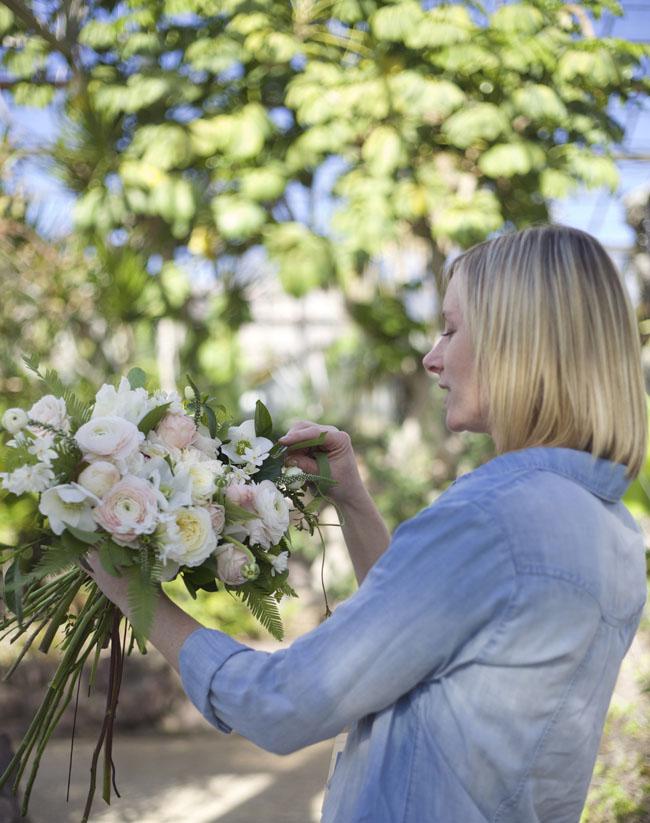 Florabundance Design Days 2016 - Katie Noonan AIFD designing a blush bridal bouquet