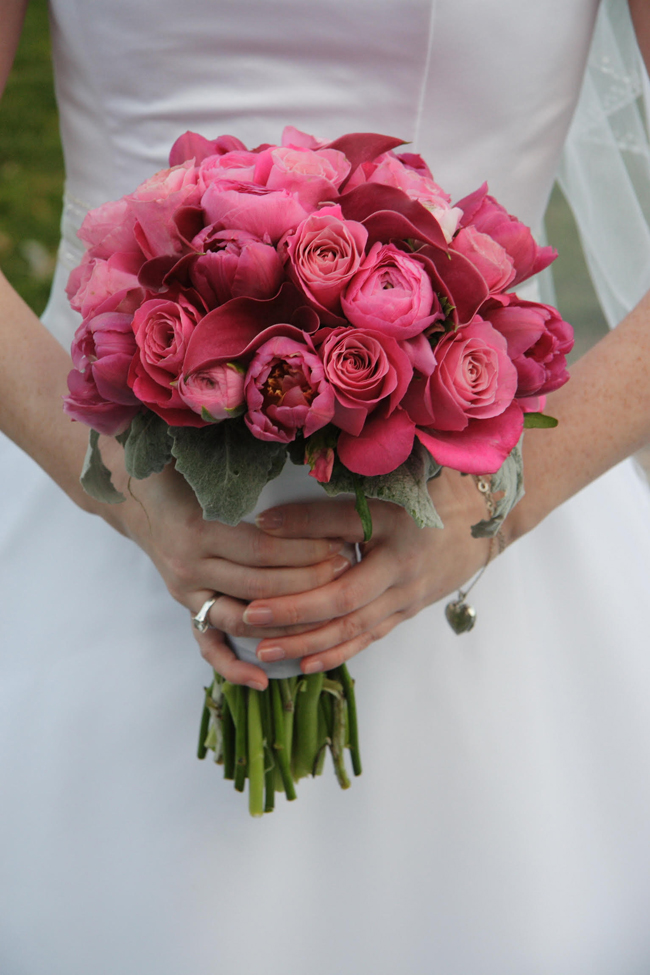 Keita of Smashing Petals Azzura Photography - Aria Floral - hot pink bridal bouquet of calla lilies, ranunculus, roses and double tulips