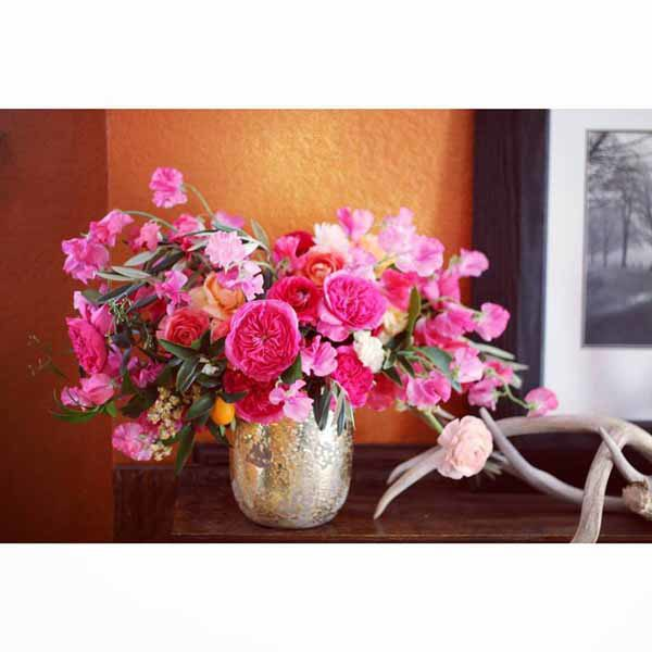 Bare Root Flora - Pink floral arrangement with sweetpeas, garden roses, and ranunculus - Colorado Flowers