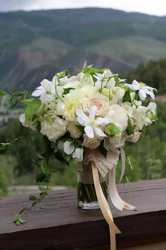 Bare Root Flora - white bridal bouquet with peonies, clematis and roses
