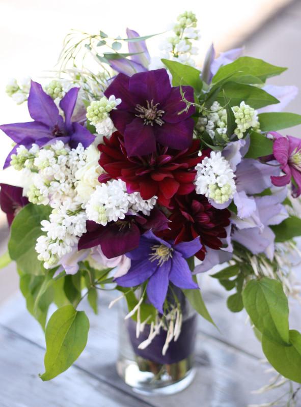 Bella Fiori Bridal Bouquet - lilacs, roses, clematis, and dahlias.