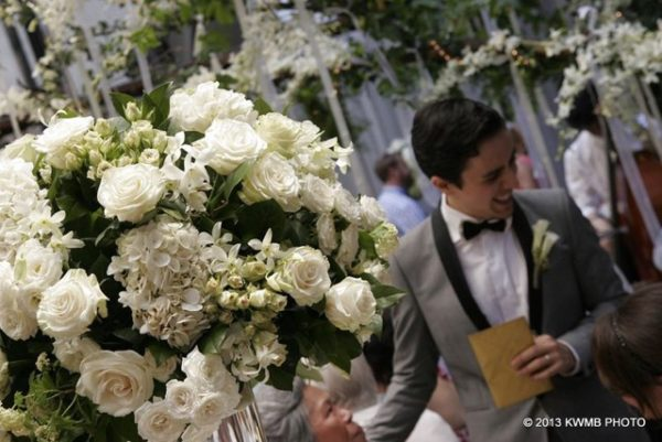 Anissa Rae Flowers & Refinements, NYC - arrangements of white hydrangeas, roses, and orchids