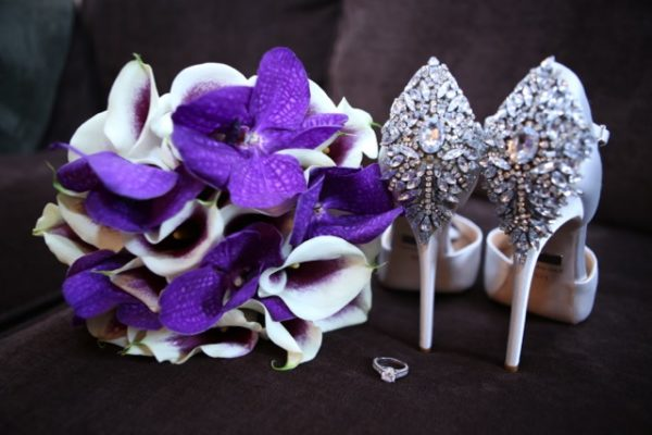 Anissa Rae Flowers & Refinements, NYC - bouquet of picasso calla lilies and purple vanda orchids