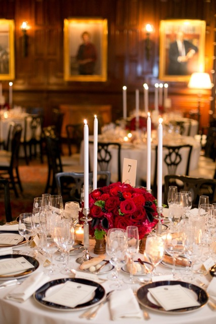 Anissa Rae Flowers & Refinements, NYC -  stunning centerpiece of red roses with candlelight
