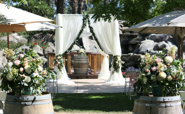 Fleurie Flowers, Reedley, California, Wedding Ceremony Chuppah with garlands
