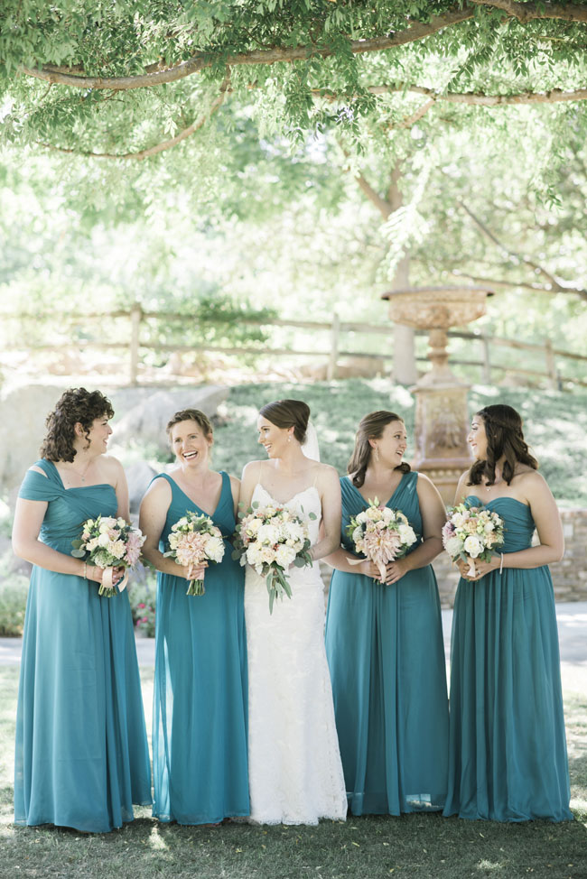 Fleurie Flowers, Reedley, California, wedding party with blush bouquets