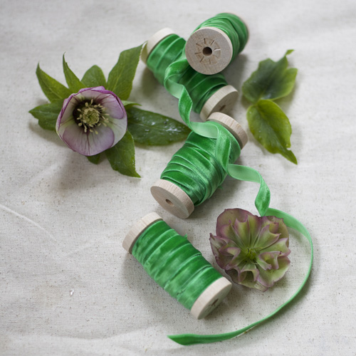 Emerald Green Velvet Ribbon - 3/8th Width Velvet Ribbon on a Wooden Spool