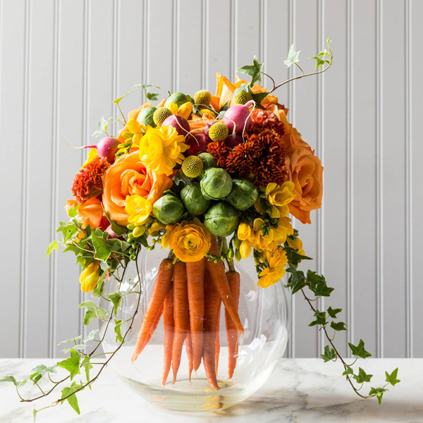 Easter Floral Design with Carrots. Photographed by Laurey W Glenn