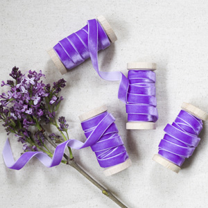 Lilac Purple Velvet Ribbon For Sale, Lilac Ribbon 3/8th Width on a wooden spool for sale, vintage lilac velvet ribbon