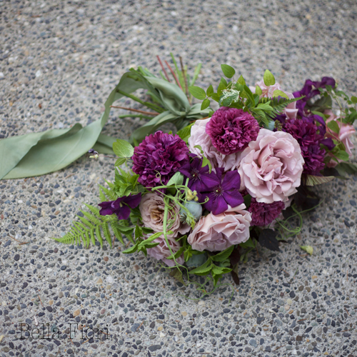 Bella Fiori Bouquet of clematis, koko loko roses, and peony poppies