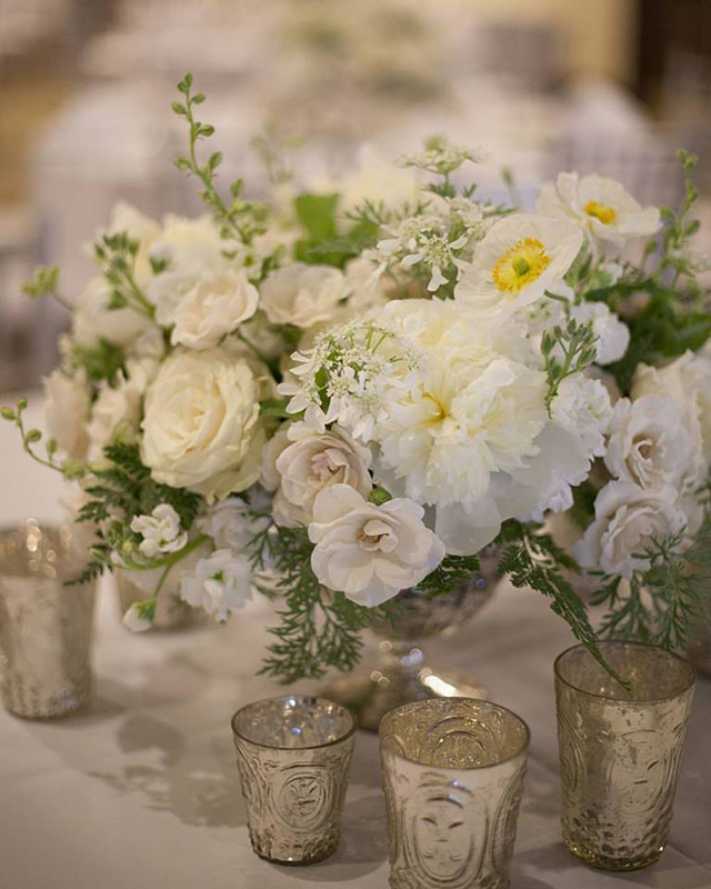 Floral Verde LLC - Cincinnati Florist - Mercury Glass Compote with a white and green floral centerpiece