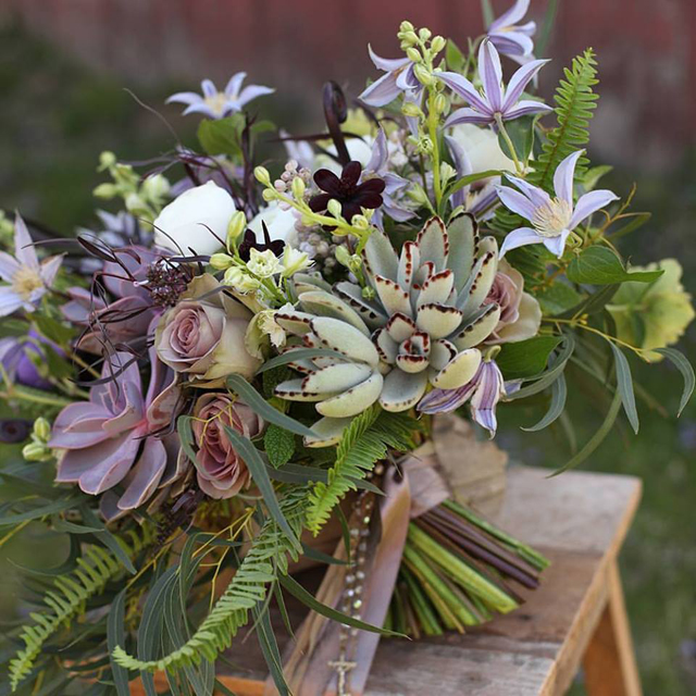 Floral Verde LLC - Cincinnati Florist - bouquet with succulents, roses, and clematis