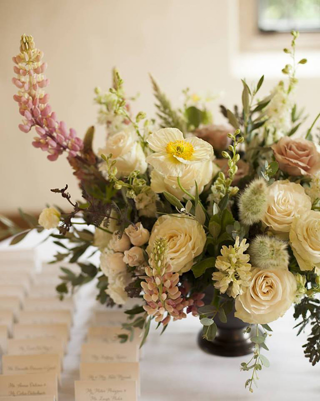 Floral Verde LLC - Cincinnati Florist - cream and pink flower centerpiece with lupines
