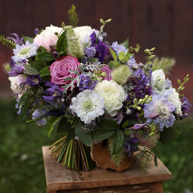 Floral Verde LLC - Cincinnati Florist - purple and white bridal bouquet