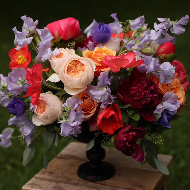 Floral Verde LLC - Cincinnati Florist - vibrant peach, purple and burgundy floral centerpiece