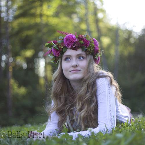 Bella Fiori - flower halo of dahlias, hydrangea and astilbe