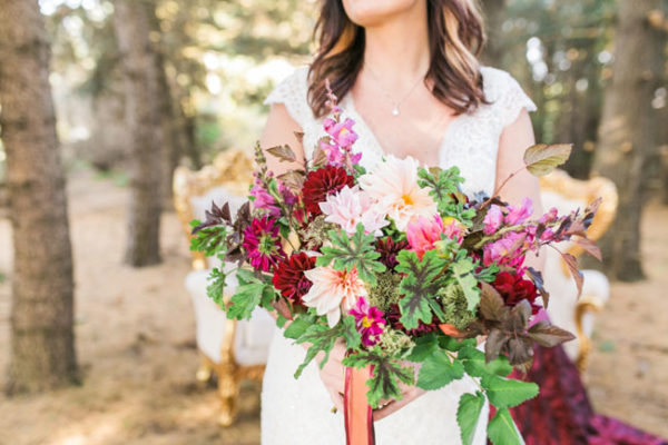 Buckeye Blooms - Mandy Ford Photography - bridal bouquet with dahlias, geranium leaves and snapdragons