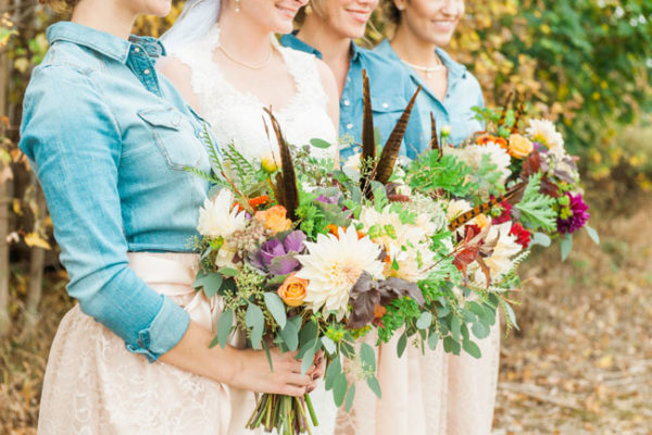 Buckeye Blooms - Mandy Ford Photography - bouquets with pheasant feathers