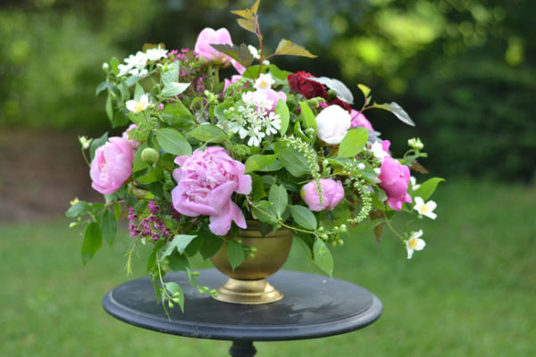 Buckeye Blooms - centerpiece with peonies