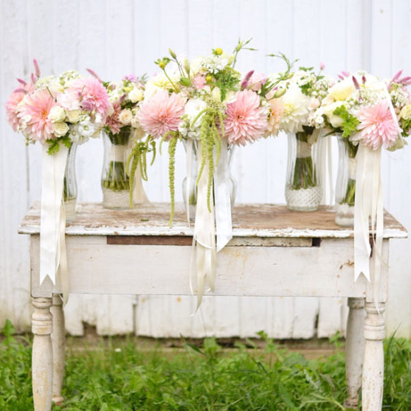 Buckeye Blooms - bouquets with cafe au lait dahlias