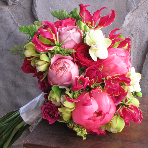 Floral Verde - bouquet with pink peonies, orchids and gloriosa lilies