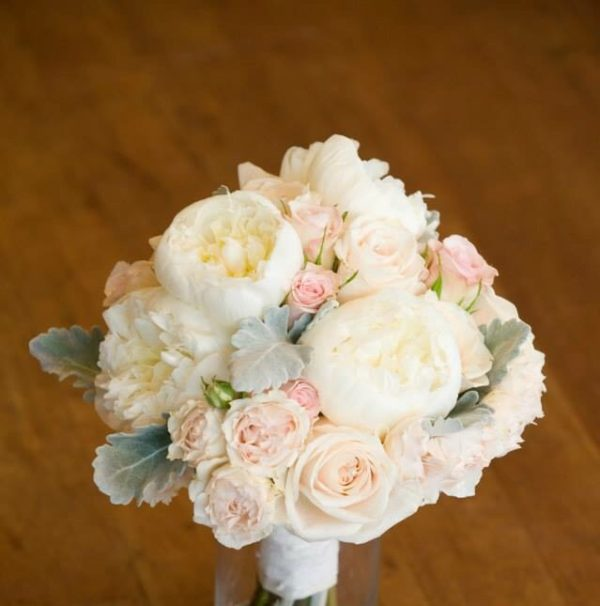 Jaclyn Gough - bridal bouquet of blush pink peonies and roses