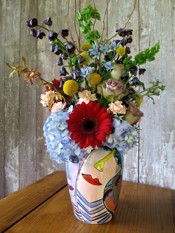 An arrangement that Michael created in a clients vase with flowers from his farm - Trout Lily Farm.