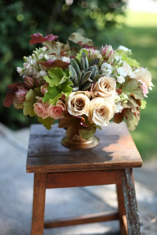 Floral Verde - Heuchera Leaves and Roses in a Centerpiece