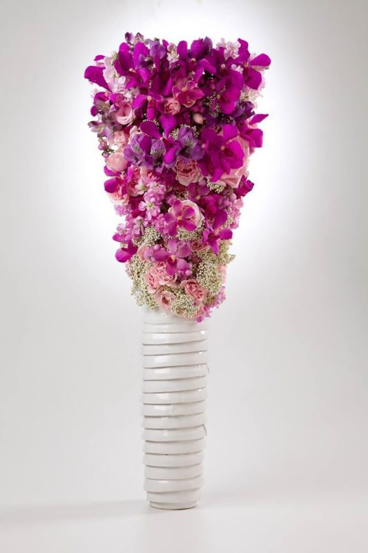 Designed by Hitomi Gilliam AIFD, Magenta flowers in a Modern Style