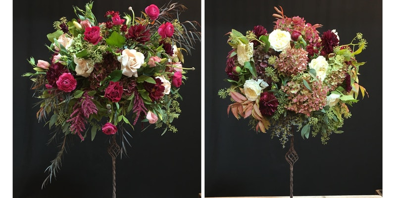 floral design class in seattle washington on how to design elevated centerpieces