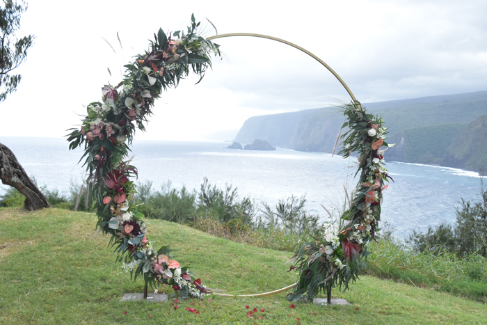 Grace Flowers Hawaii - moon arch for a wedding ceremony overlooking ocean