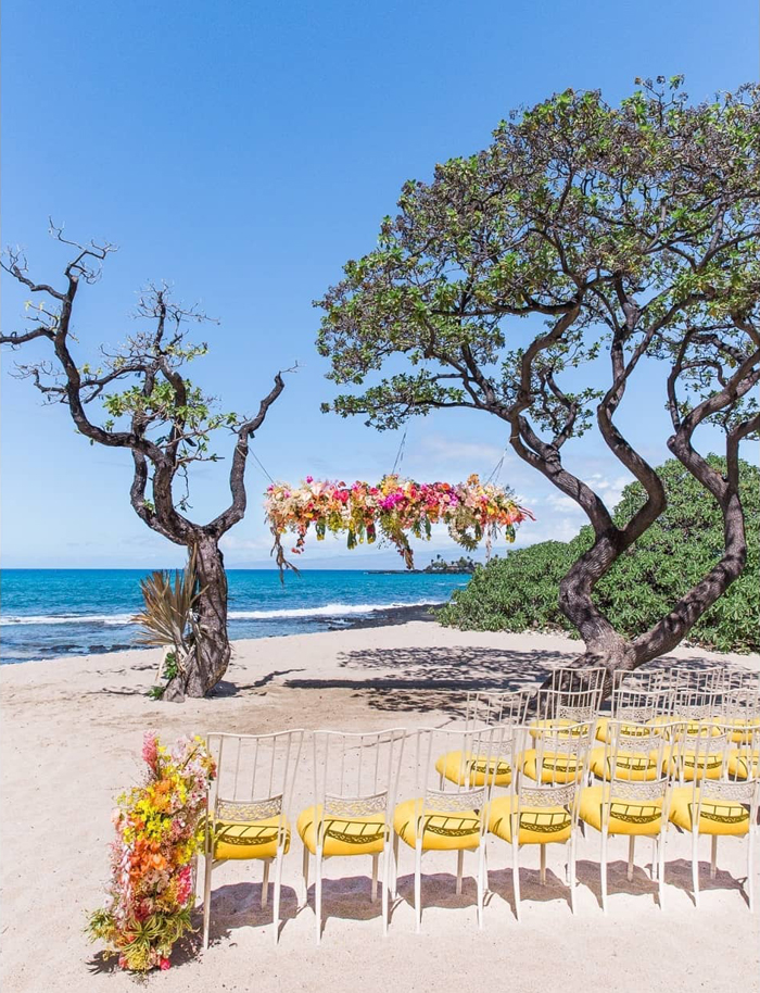 Grace Flowers Hawaii - tropical wedding ceremony on the beach